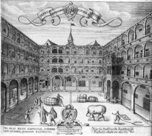 Ancient engraving of the Fondaco dei Tedeschi, Venice