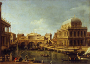 """Capriccio"" by Canaletto with the Rialto bridge designed by Palladio"