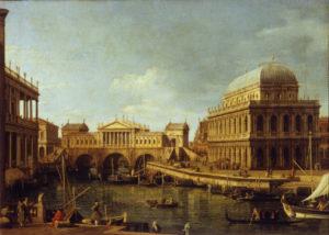 """""""Capriccio"""" by Canaletto with the Rialto bridge designed by Palladio"""