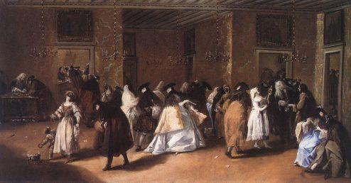 The casino Dandolo near San Moisè in a painting by Francesco Guardi