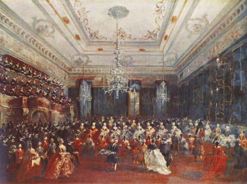the interior of the casino dei Filarmonici in Venice by Francesco Guardi