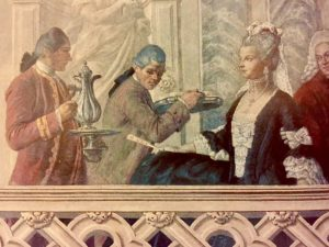 Detail of a fresco inside Palazzo Grassi, Venice