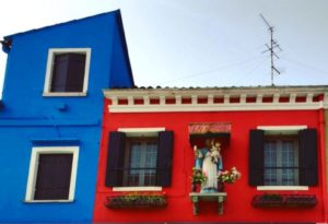 Colourful walls in Burano