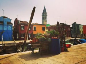 The leaning belltower of Burano