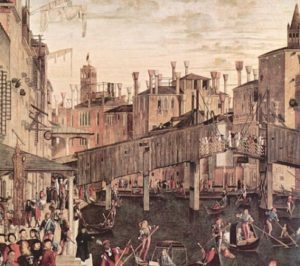 "Detail of ""The miracle of the cross at the Rialto bridge"" by Vittore Carpaccio"