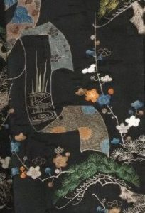 detail of a Japanese kimono from the Museum of Oriental Art in Venice