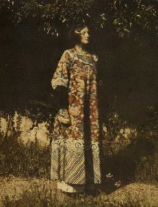 Emilie Flöge, muse of Gustav Klimt, wearing a Chinese robe