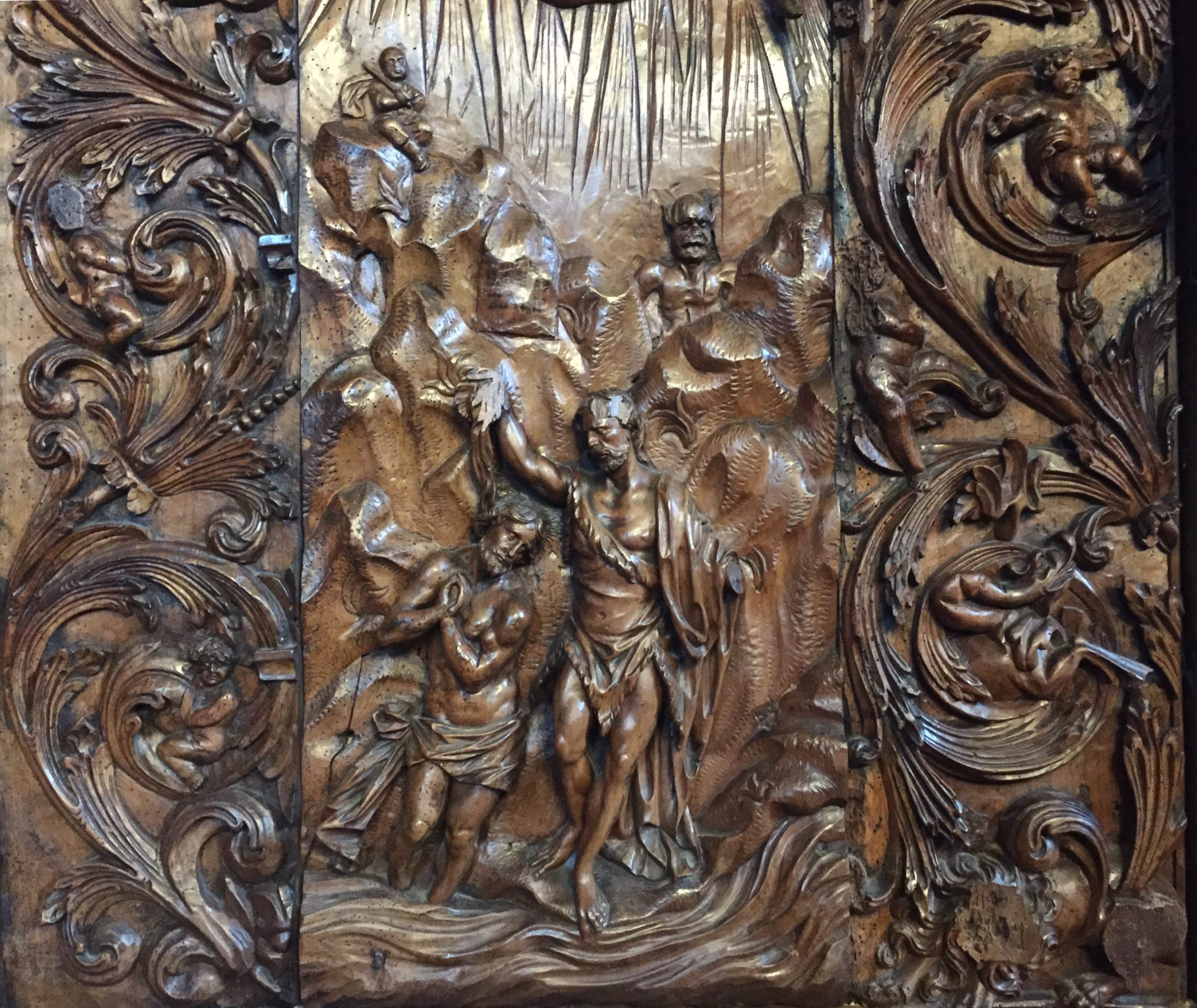 carving with the baptism of Jesus by Morando in Murano
