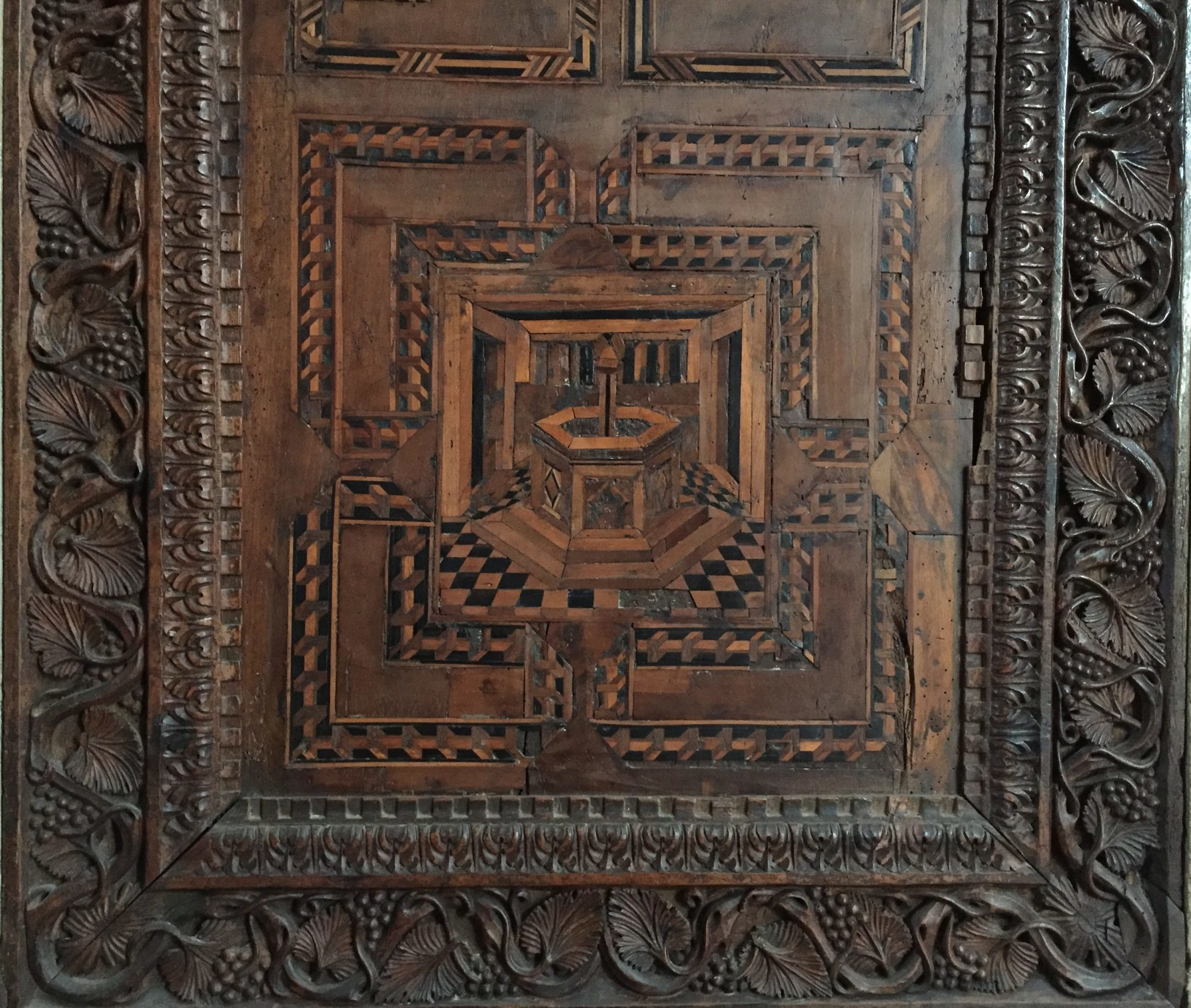 detail of wooden inlay in the Frari Church