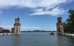 the entrance of the Venice Arsenale facing the rio di San Pietro di Castello